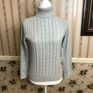 Land's End turtleneck cable knit sweater
